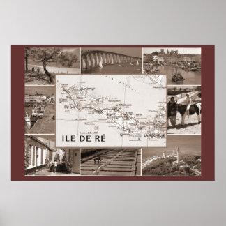 セピア色のプリント、Ile de Reの前の刑務所のコロニー ポスター