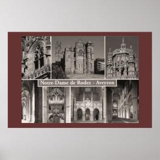 セピア色のプリント、Notre Dame de Rodez、Averyon ポスター