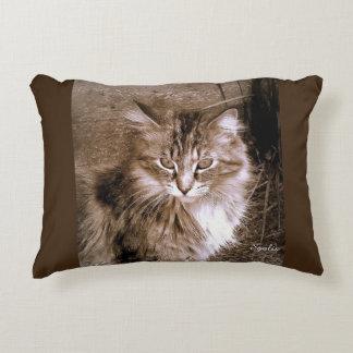 セピア色のメインのあらいぐま猫の装飾用クッション アクセントクッション