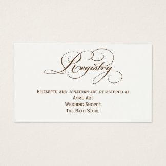 セピア色の原稿の結婚式の登録の情報カード 名刺