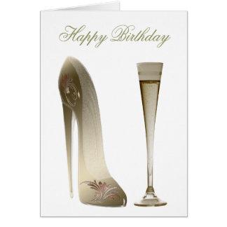 セピア色の小剣の靴およびお祝いシャンペン カード
