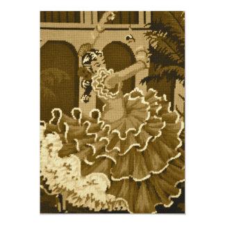 セピア色の招待状のフラメンコのダンサー カード
