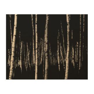 セピア色の樺の木の森林 ウッドウォールアート