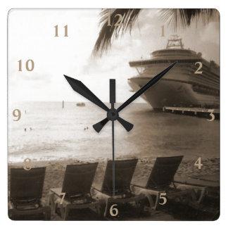 セピア色の船 スクエア壁時計
