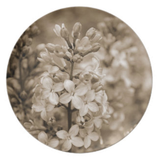 セピア色の花のディナー用大皿のライラック プレート