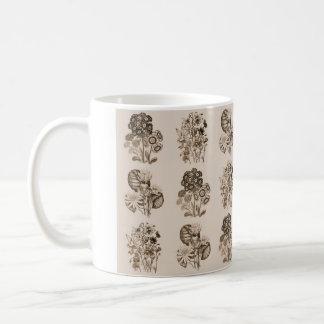 セピア色の茶色のモノクロ花 コーヒーマグカップ