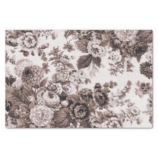 セピア色の調子のブラウンのヴィンテージ花のToile No.3 薄葉紙