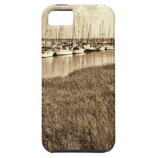 セピア色の調子のヨットのマリーナ iPhone SE/5/5s ケース