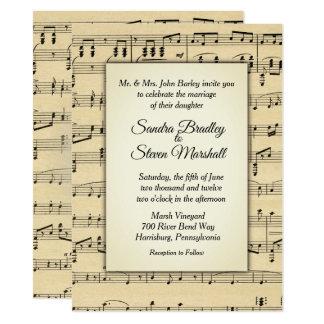 セピア色の調子の旧式な楽譜のテーマの結婚式 カード