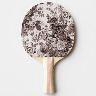 セピア色の調子ブラウン花のToile No.3 卓球ラケット
