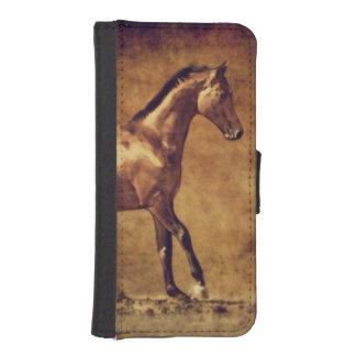 セピア色は素朴な馬の芸術にある調子を与えました iPhoneSE/5/5sウォレットケース