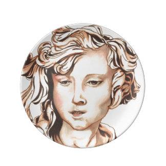 セピア色調子の天使の装飾的なプレート 磁器プレート
