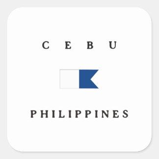 セブ州フィリピンのアルファ飛び込みの旗 正方形シール・ステッカー
