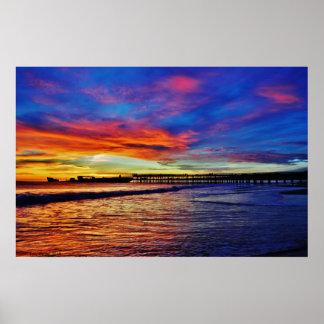 セメントの船の日没 ポスター