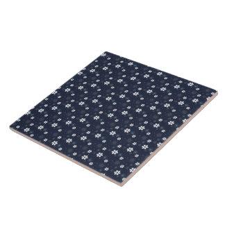 セラミックタイルのレトロの青い花trivetか箱 タイル