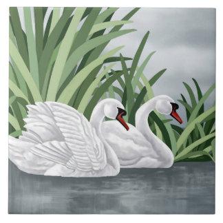 セラミックタイルの白鳥の芸術 タイル