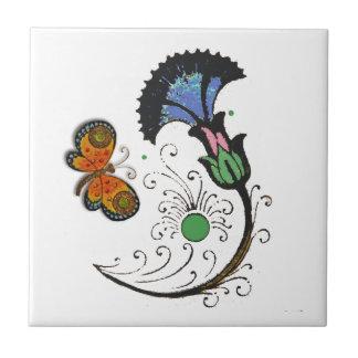 セラミックタイルを絵を描いているフィレンツェの花の蝶 タイル
