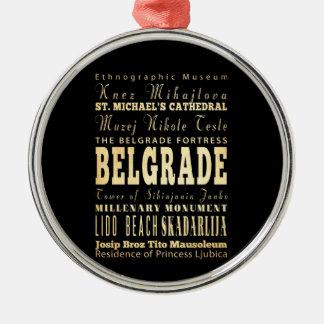 セルビアのタイポグラフィの芸術のベオグラード都市 メタルオーナメント