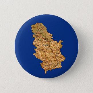 セルビアの地図ボタン 5.7CM 丸型バッジ