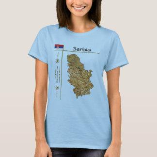 セルビアの地図 + 旗 + タイトルのTシャツ Tシャツ