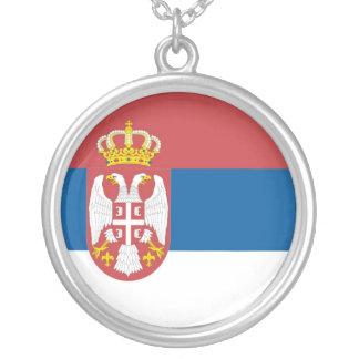 セルビアの旗のネックレス シルバープレートネックレス