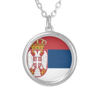 セルビアの旗 シルバープレートネックレス