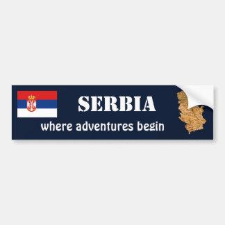 セルビアの旗 + 地図のバンパーステッカー バンパーステッカー