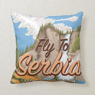 セルビアの漫画旅行ポスターへのはえ クッション