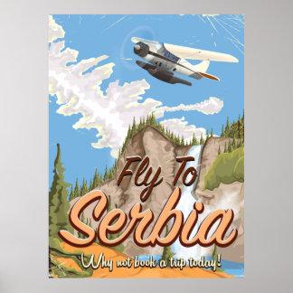 セルビアの漫画旅行ポスターへのはえ ポスター