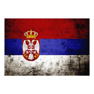 セルビアの黒くグランジな旗 フォトプリント