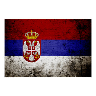 セルビアの黒くグランジな旗 ポスター