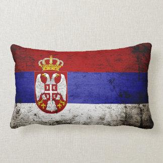 セルビアの黒くグランジな旗 ランバークッション