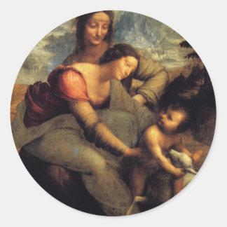 セントアンナ及び子ヒツジを持つヴァージン及び子供 ラウンドシール