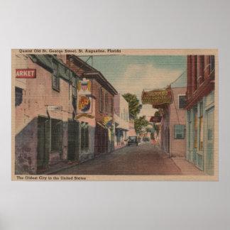 セントオーガスティン、フロリダ-セントジョージSt.の眺め ポスター