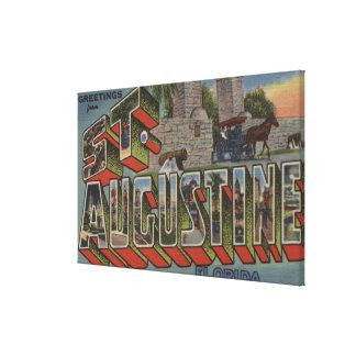 セントオーガスティン、フロリダ-大きい手紙場面 キャンバスプリント
