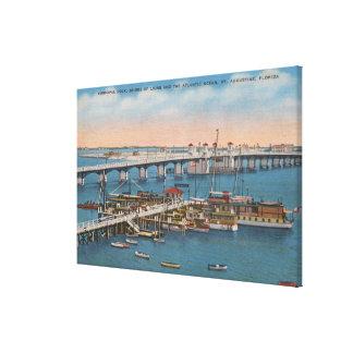 セントオーガスティン、FL -ライオンの橋の眺め キャンバスプリント