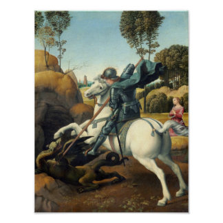 セントジョージおよびドラゴン(Raphael) ポスター