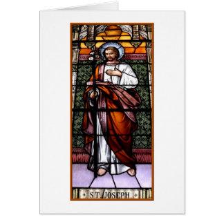 セントジョーゼフは私達のために-ステンドグラス窓を祈ります カード