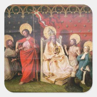 セントトーマスを持つキリストを描写する祭壇の背後の飾り スクエアシール