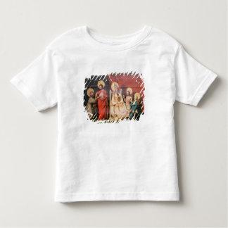 セントトーマスを持つキリストを描写する祭壇の背後の飾り トドラーTシャツ