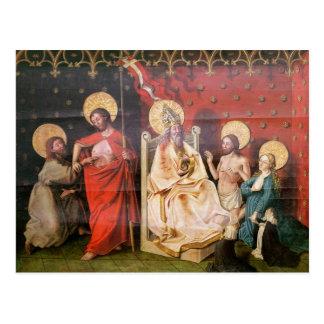 セントトーマスを持つキリストを描写する祭壇の背後の飾り ポストカード