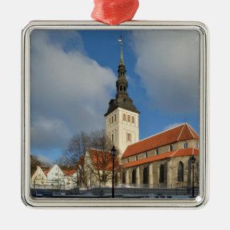 セントニコラスの教会、タリン、エストニア シルバーカラー正方形オーナメント
