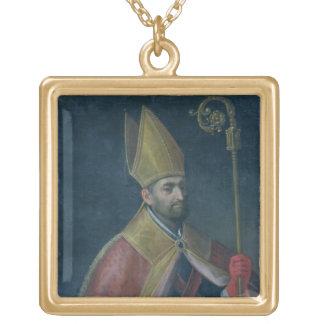 セントニコラス1700年のポートレート(キャンバスの油) ゴールドプレートネックレス