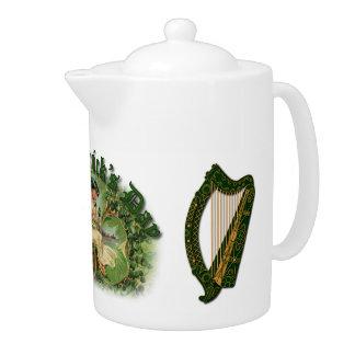 セントパトリックの日のアイルランドのハープ-茶ポット1
