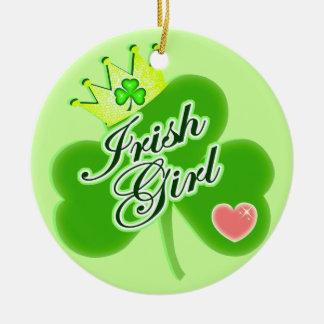 セントパトリックの日のアイルランド人の女の子 セラミックオーナメント