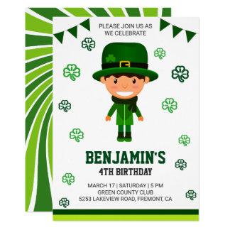 セントパトリックの日の子供の誕生日のパーティの招待状 カード