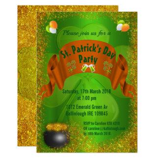 セントパトリックの日の招待状金の壷 カード