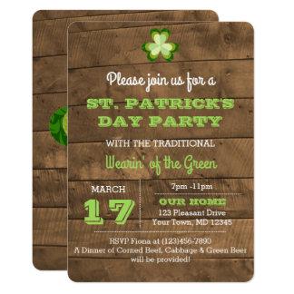 セントパトリックの日の素朴なパーティの招待状 カード