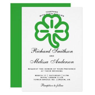 セントパトリックの日の緑のクローバーの結婚式招待状 カード
