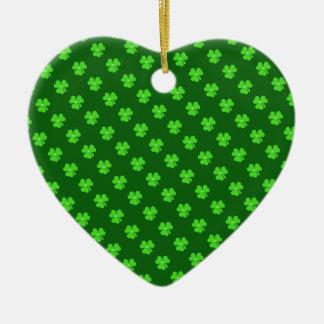 セントパトリックの日の薄緑のクローバー セラミックオーナメント